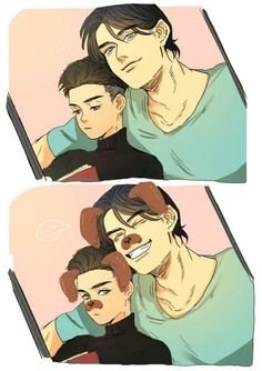 """When Damian and Dick discover dog filters """"Hey lil' wing, now you look like Titus!"""""""