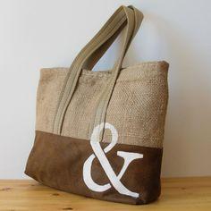 OJALÁ   Burlap & Suede Tote Bag. Bolso grande de arpillera y antelina confeccionado artesanalmente. Large handmade burlap & suede tote bag.   #coffeesack #upcycled #repurposed #totebag
