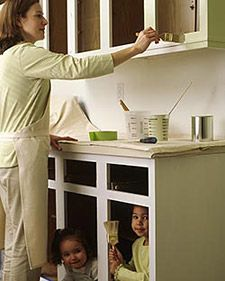 Painting the Cabinets, Step-By-Step Cabinetry is often the most expensive item in a kitchen renovation, averaging more than one-third of the total cost, says Dalton of the NKBA. Painting Kitchen Cabinets, Kitchen Paint, Kitchen Redo, Kitchen And Bath, Kitchen Ideas, Kitchen Cupboards, Repainting Cabinets, Painting Countertops, Bath Cabinets