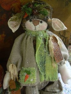 "Primitive Prim Folk Art Raggedy Bunny Rabbit Doll ""Kenny"" 31"" Must See!!! #NaivePrimitive #LeahsWhimsicalcorner THIS DOLL IS NOW AVAILABLE ON EBAY!! THANK YOU!!:0)"