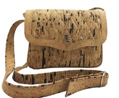 Saint Tropez Cork Purse - Cortizza - Super Cute!  Small shoulder bag in two different cork patterns - velvety to the touch, sustainable, vegan.