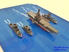 Aircraft carrier and its fleet Lego Ww2, Easy Lego Creations, Lego Boat, Big Lego, Micro Lego, Lego Ship, Lego Pictures, Lego System, Lego Worlds