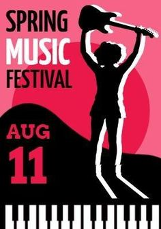 A really cool music festival poster template. An illustration of a musician holding up a guitar. A bright pink background with Spring music festival included. New Music, Good Music, Custom Shades, Music Logo, Custom Fonts, Band Posters, Festival Posters, Sale Poster, Logo Templates