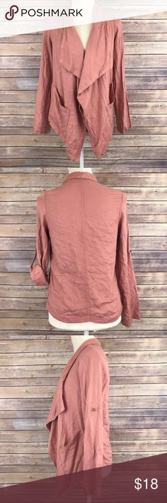 """Bar III Mauve Pink Open Pocket Cascade Cardigan G1 Bust: 17"""" Length: 24""""-28.5""""  Button tab on sleeves   Condition: No Rips; No Stains  100% Rayon   📦I ship orders within 24 Hours! {Except Weekends}📦  🚫No Trades🚫No Holds🚫 Bar III Sweaters Cardigans"""