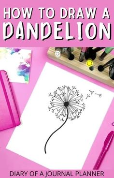 The best step-by-step guide for learning how to draw/doodle a dandelion! #dandelion #doodling #howtodraw Dandelion Drawing, Bullet Journal Printables, Doodle Drawings, Step By Step Drawing, Learn To Draw, Step Guide, Doodles, Learning, Learn Drawing
