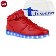 (Present:kleines Handtuch)Schwarz EU 43, Glow Velcro Unisex mode Tanzen High-Top Aufladen für Damen Party LED JUNGLEST® Rollbrett Turnschuhe Sport Sneakers Leuchten