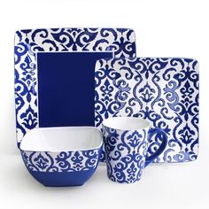 Wax Relief Blue 16 Piece Earthenware Dinnerware Set by Waverly DW and MW Safe #Waverly