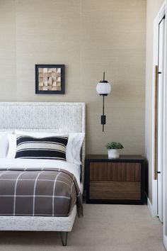 Wallpaper. That jigsaw puzzle on the wall. KELLY WEARSTLER | INTERIORS. Hollywood Proper Residences Bedroom