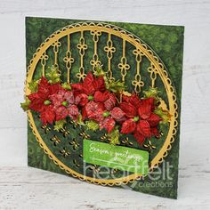 Eyelet Christmas Poinsettia Handmade Greeting Card - Add some extra elegance to your handmade cards this Holiday Season! Christmas Poinsettia, Stampin Up Christmas, Christmas Paper, Christmas Greeting Cards, Christmas Angels, Greeting Cards Handmade, Handmade Christmas, Holiday Cards, Poinsettia Flower