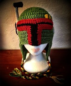 Star Wars Bounty Hunter Boba Fett Inspired Hat- NO PATTERN but I thought it was pretty awesome.