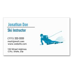 Ski Instructor business card #custom #businesscards #professional #sports #ski