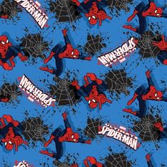 Cotton Fabric - Animal Fabric - Flannel Spiderman Splatter Web Toss on Blue - 4my3boyz Fabulous Fabrics by the Fat Quarter and More