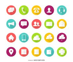 Set of colorful contact icons with long shadows. Design features white…