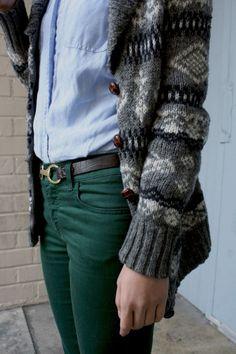 Fashion / forest green denim