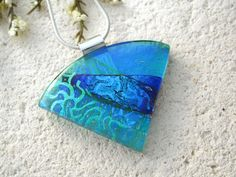Emerald Green Blue Necklace Dichroic  Necklace Fused by ccvalenzo