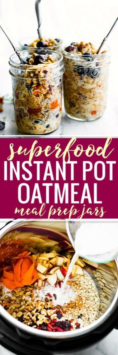 Superfood Instant Pot Oatmeal In A Jar A Healthy Breakfast Meal Prep Recipe Or Breakfast To-Go. This Electric Pressure Cooker Oatmeal Recipe Is Filled With Superfoods Gluten Free Rolled Oats, Apples, Walnuts, Flaxseed, Goji Berries. Healthy Breakfast Meal Prep, Gluten Free Recipes For Breakfast, Free Breakfast, Eat Breakfast, Breakfast Ideas, Second Breakfast, Brunch Recipes, Drink Recipes, Dinner Recipes