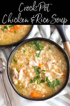 Crock Pot Chicken Rice Soup is a simple and delicious comforting soup that is perfect for a cold winter night. Filled with simple and wholesome ingredients, this soup is hearty AND healthy. Crock Pot Chicken And Rice Recipe, Chicken And Rice Crockpot, Chicken Barley Soup, Easy Crockpot Soup, Slow Cooker Thai Chicken, Easy Chicken And Rice, Easy Chicken Dinner Recipes, Crock Pot Soup, Easy Salad Recipes