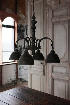 fleaingfrance: FleaingFrance Brocante Society Industrial and boiserie Light Fittings, Light Fixtures, Spider Light, Industrial Living, French Industrial, Industrial Chic, Chandelier Lamp, Chandeliers, Ivy House
