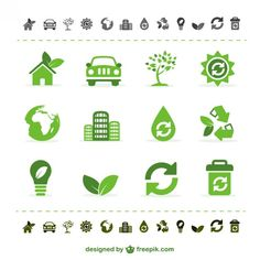 Green ecology vector icons Free Vector