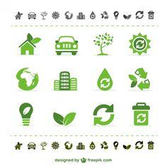 Iconos verdes de ecología Vector Gratis