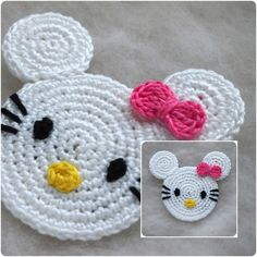 But my girl adores mouses (she goes to bed only with her small mouse). I think you can understand now why I have so many Mouse patterns. Crochet Disney, Crochet Mouse, Crochet Applique Patterns Free, Free Crochet, Crochet Coaster, Doily Patterns, Dress Patterns, Double Crochet, Single Crochet