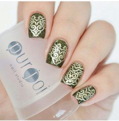 Beautiful stamping mani using ourJumbo Clear Nail Art Stamper.  Visit our website at www.purjoinailstudio.com for product details.