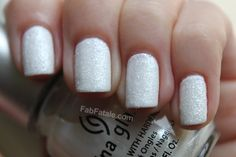 Holiday Christmas Snow Manicure White Glitter Nails China Glaze Frosty