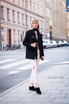 white jeans, grey top, navy blue blazer, scarf