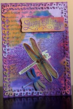 Dragonfly Birthday - Mixed media card including SU Perfectly Penned sentiment and Tim Holtz distress paints.