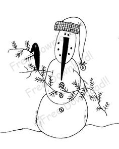 Free Primitive Patterns to Print | Free Goods - Free Patterns - Snowmen and Winter - Free Winter Snowman ...