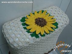 Receita de Jogo Banheiro em Crochê Girassol - Caixa Acoplada Passo a Passo