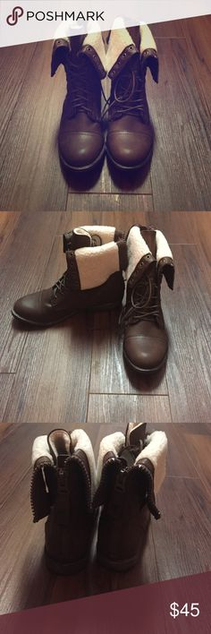 New woman's boots size 9 Very cute boots size 9! New! You have the option to fold down and button or unbutton and zip up! Box is damaged from shipping Shoes Combat & Moto Boots