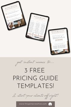 Get instant access to 3 FREE Pricing Guide Templates (in Canva format!) to use for your business - includes a Payment Schedule, Package Options,