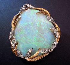 | art nouveau opal and diamond brooch pendant