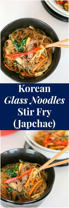 Japchae (Korean Glass Noodle Stir Fry) The best and the most comprehensive Korean Glass Noodle Stir Fry (Japchae) recipe! Impress your guests! Stir Fry Recipes, Noodle Recipes, Cooking Recipes, Korean Dishes, Korean Food, Korean Glass Noodles, Korean Kitchen, Asian Recipes, Ethnic Recipes