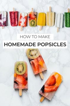 How to make healthy homemade popsicles from A to Z, including how to make fruity, creamy, and even hidden veggie popsicles! These ice pop recipe ideas are great for the whole family to enjoy this summ Home Made Popsicles Healthy, Homemade Popsicles, Ice Pop Recipes, Popsicle Recipes, Summer Desserts, Summer Recipes, Sugar Free Popsicles, Smoothie Popsicles, Hidden Veggies