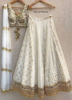Mirror Work Lehenga, Mirror Work Blouse, Off Shoulder Lehenga, Sweet 16 Outfits, Floral Lehenga, Gold Outfit, Gold Blouse, Embroidery Suits Design, Party Wear Lehenga