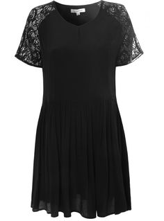 Black Skater Dress with Lace Cap Sleeves
