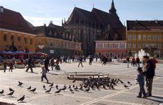 Main square in Brasov, Romania Brasov Romania, Jpg, Places To Travel, Gate, Louvre, Street View, Building, Portal, Destinations