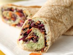 Creamy avocado and white bean wrap.