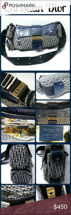 """CHRISTIAN DIOR CHIC COLUMBUS AVE HANDBAG Pre-Owned - Very Good Condition. Exterior canvas is in excellent condition, No wear but could use a little spot cleaning; Navy Blue leather shows no scuffs. Please see photos. Interior lining is extremely clean; 3 removable little pockets (two zipper, one snap closure), key ring strap; one interior zip pocket; adjustable 13"""" canvas strap; flap closure; gold tone hardware. this purse is adorable and very well taken care of. From a smoke-free home…"""