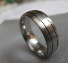 Titanium Mens Ring Wedding Band Anniversary Rings. $40.00, via Etsy.