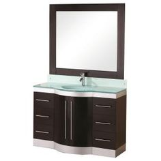 Design Element Jade 48 in. Vanity in Espresso with Glass Vanity Top in Mint and Mirror-DEC024-GTP at The Home Depot