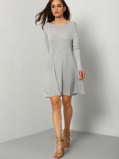 Grey Baggy Long Sleeve Charcoal Casual Dress