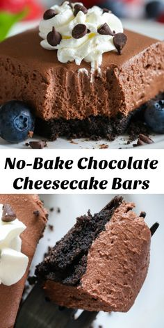 These no bake chocolate cheesecake bars are so rich, creamy, and chocolatey. Its a chocolate lovers dream dessert! #chocolatecheesecake #nobakecheesecake #cheesecakebars #cheesecake #dessertbars