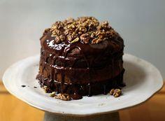 My New Roots: Chocolate Banana Birthday Cake with Maple Glazed Walnuts