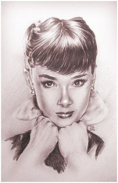 Audrey Hepburn Pencil Drawing Portrait Signed Framed Print by Jeremy Worst Classic on Etsy, $50.00