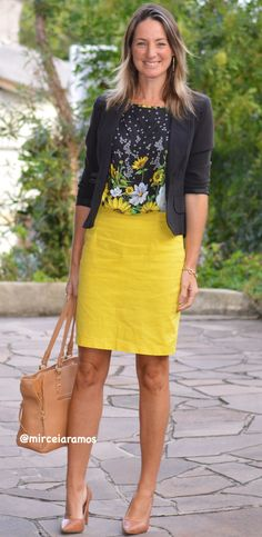 New Style Work Office Pencil Skirts 58 Ideas Work Fashion, Trendy Fashion, Yellow Skirt Outfits, Trendy Dresses, Dresses For Work, Cool Outfits, Casual Outfits, Casual Shirts, Moda Do Momento