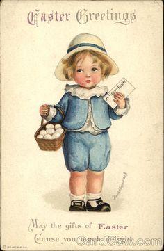 Easter Greetings with Child holding Egg Basket,  Ellen Clapsaddle