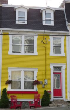 Exterior colors -- Percolate's orange-yellow, with white trim and Percolate's reddish-pink highlights. (Maybe a few pops of the Percolate turquoise, too, like in the garden.